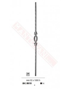Paletti per cancellata con lance a fiamma e forgiate a mano in ferro piano quadro del 14 mm 52 x 1000 h.