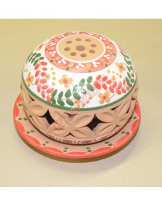 LUME IN TERRACOTTA DECORATA COUNRTY PORTA CANDELA TEALIGHT