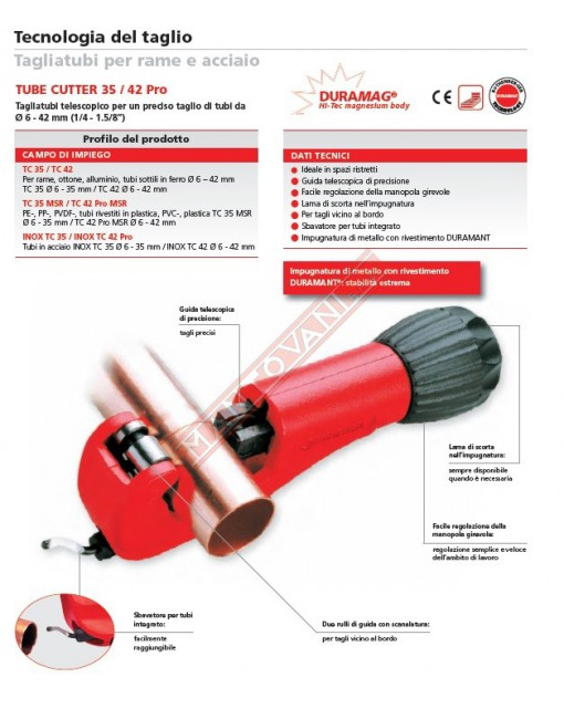 70029 TUBE CUTTER 35\42 PRO ROTHENBERGER TAGLIARAMEPER DIAMETRO TUBO FINO A 42 MM