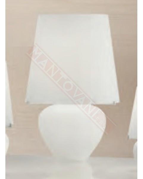 Mantovani Spa Vistosi Naxos 50 Lampada Da Tavolo In Vetro Bianco Satinato Diam 32 H