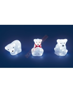 ORSO ACRILICO ASSORTITO CON LED BCHI H 16CM PER INTERNO A BATTERIA